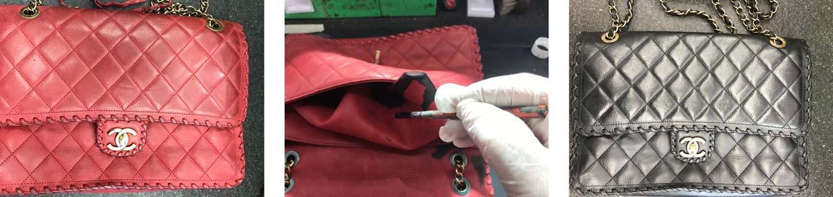 Verven Chanel tas van rood naar zwart